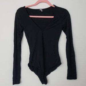 Like New Black V-Neck Long Sleeve Bodysuit, XS
